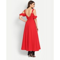 Raymon Maxi Dress Regular Red Cold Shoulder Maxi Dress IN1637MTODRERED-528 AOGSGWP