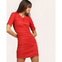 Red Carol Ruched Bodycon Dress Skinny Mini Bodycon Dress IN1803MTODRERED-715 NFWHCNG