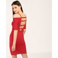 Red Clare Cut Out Bodycon Dress Skinny Red Cutout Cotton Mini Bodycon Dress IN1803MTODRERED-636 NSADGUA