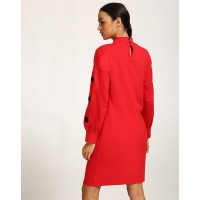 Red Frieda Eyelet Dress Straight Red Cotton Mini Shift Dress IN1739MTODRERED-157 AMFRBGQ