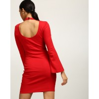 Red Gwyneth Cut Out Bodycon Dress Skinny Red Bell Sleeves Cotton Mini Bodycon Dress IN1739MTODRERED-403 VELMHTX