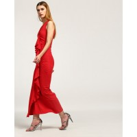 Red Helena Ruffled Maxi Dress Straight Red Ruffle Cotton Maxi Dress IN1746MTODRERED-584 NZGLHXQ