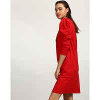Red Janice Star Embroidered Shift Dress Regular Red Cotton Mini Shift Dress IN1745MTODRERED-536 NSXNVOA