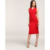 Red Juana Cut Out Bodycon Dress Skinny Red Cutout Cotton Midi Bodycon Dress IN1801MTODRERED-707 ZFZEEAM