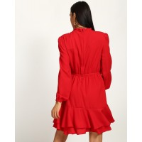 Red Story Ruffled Dress Flare Red Ruffle Georgette Mini Skater Dress IN1737MTODRERED-239 NPDSCMN