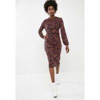 Vero Moda Women Kenya long sleeve calf dress - black Black Red & Brown ZKPQJOA