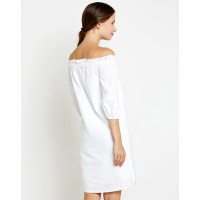 White Andrea Off Shoulder Shift Dress Regular White Off Shoulder Cotton Mini Shift Dress IN1729MTODREWHT-432 XIYDXIU