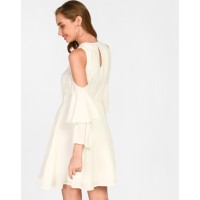 White Clora Cold Shoulder Skater Dress Flare White Bell Sleeves Georgette Mini Skater Dress IN1723MTODREWHT-511 UOKRIRW