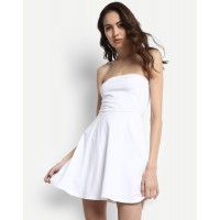 White Linda Bow Dress Regular White Off Shoulder Cotton Mini Skater Dress IN1724MTODREWHT-643 PYVEZAE