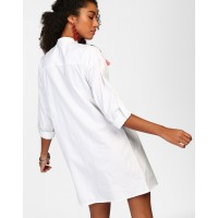 White Mellisa Tassel Detail Shirt Dress Straight White Cotton Mini Shirt Dress IN1812MTODREWHT-184 SNGAGDR