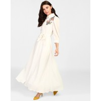 White Merlyn Embroidered Maxi Dress A-Line White Georgette Maxi Dress IN1818MTODREWHT-137 NJIEMVG