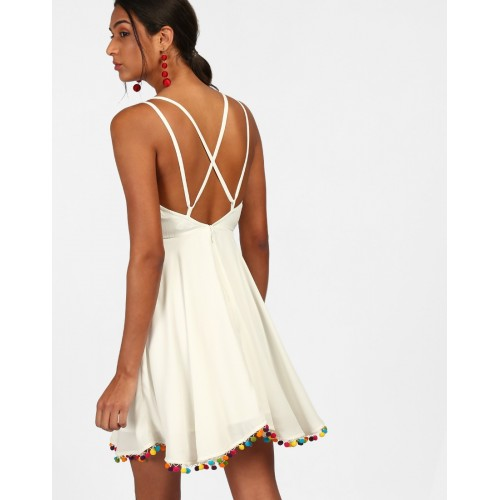 White Nema Pom Pom Detail Skater Dress Flare White Georgette Mini Skater Dress IN1813MTODREWHT-131 AOQXUGK