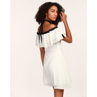 White Sonny Tassel Detail Dress White Georgette Mini Skater Dress IN1805MTODREWHT-861 JRMNKMN