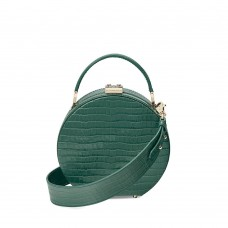 Aspinal of London Women Hat Box Mini Sage Croc Mini Grab Handle D904586 ERGKPCT