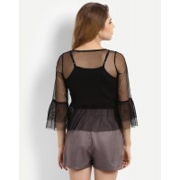 Black Briannie Mesh Blouse Regular Lace Bell Sleeves Blouse IN1717MTOTOPBLA-453 ETEYZTD