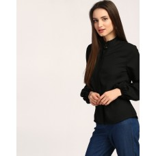 Black Hannah Bishop Sleeve Shirt Regular Black Bell Sleeves Georgette Casual Shirt IN1801MTOSHTBLA-704 ZDDUPAD