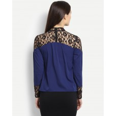 Blue Abbith Lace Blouse Blue Blouse IN1703MTOSHTBLU-259 TMLZREU