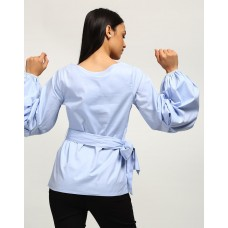 Blue Clarissa Tie Up Blouse Regular IN1739MTOTOPBLU-303 UIGIJQE
