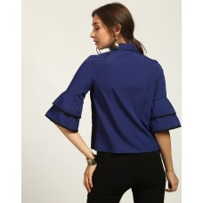 Blue Dagny Ruffles Blouse Regular Blue Bell Sleeves Blouse IN1746MTOTOPBLU-669 ILASCBY