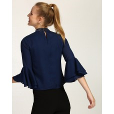 Blue Mace Ruffled Top Regular IN1735MTOTOPNVY-681 LEUKCUD