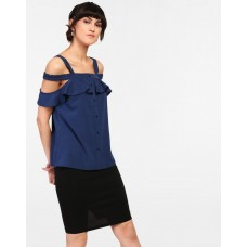 Blue Norah Cold Shoulder Blouse Regular Blue Cold Shoulder Blouse IN1821MTOTOPBLU-219 WFKCMFC