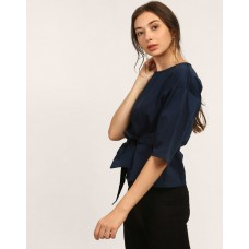 Blue Peggy Knotted Top Regular Blue Knots Cotton Casual Top IN1745MTOTOPBLU-485 DSRBQHJ