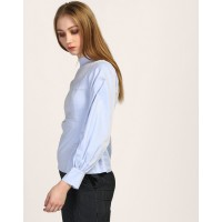 Blue Perseus Puff Sleeve Blouse Tailored Blue Cotton Blouse IN1750MTOTOPBLU-358 XSXXZDB