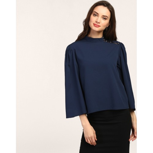 Blue Reno Button Detail Blouse Relaxed Blue Bell Sleeves Blouse IN1751MTOTOPBLU-410 NCFVBRM