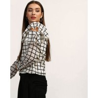 Checkered Eli Ruffle Cut Out Shoulder Blouse Regular Checks & Plaid Ruffle Georgette Blouse IN1745MTOTOPMLT-508 VYVRSJH