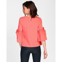 Coral Mishka Bell Sleeves Blouse Regular Coral Bell Sleeves Blouse IN1825MTOTOPCRL-197 WGQANWJ