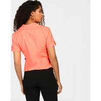 Coral Zulu Wrap Blouse Regular Coral Linen Blouse IN1811MTOTOPCRL-201 MHDRRAW