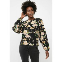 dailyfriday Women Boxy blouse with dropped sleeve - multi Black Green White Yellow & Orange XZXCEEA
