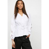 dailyfriday Women Poplin blouse with ring detail White RXTLVIU