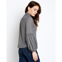 Grey Alana Pleated Neck Shirt Regular IN1730MTOSHTGRY-715 HHLHXXZ
