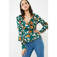 Missguided Women Floral wrap ruffle tie front blouse Green Orange & White USYQHHP
