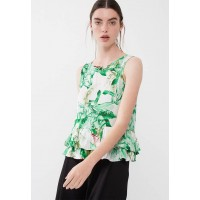 ONLY Women Mina peplum top Green White & Pink SBDGWSQ