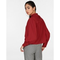 Red Harriot Pleated Blouse Relaxed Red Pleated Georgette Blouse IN1820MTOTOPRED-349 VVYVMVE