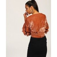Rose Vista Knotted Crushed Velvet Wrap Top Regular IN1748MTOTOPROS-821 LNUYSNY