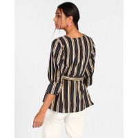 Striped Patricia Knotted Blouse Regular Striped Knots Blouse IN1813MTOTOPSTI-196 JNVWLBP