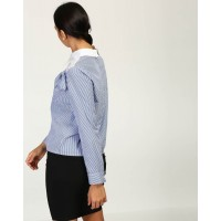 Striped Shiloh Knotted Blouse Regular Striped Knots Cotton Blouse IN1744MTOTOPMLT-410 TMUCBYF