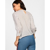 Stripes Erina Blouse Relaxed Striped Cutout Blouse IN1717MTOTOPSTI-131 RBAQOEP