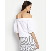 White Amy Off Shoulder Top Regular White Off Shoulder Cotton Blouse IN1726MTOTOPWHT-206 FVYRGDZ