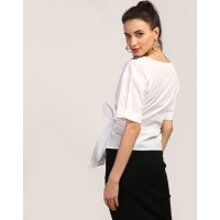 White Jane Embroidered Blouse Regular White Knots Cotton Blouse IN1801MTOTOPWHT-863 MPCRKYR