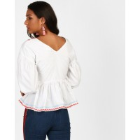 White Janice Tape Detail Peplum Blouse Regular White Cotton Blouse IN1813MTOTOPWHT-115 WVQKWEG
