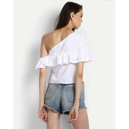 White Shelley One Shoulder Ruffles Top Box White One Shoulder Cotton Crop Top IN1726MTOTOPWHT-103 XTQGMXN