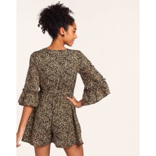 Animal Printed Rosie Bell Sleeve Playsuit Regular Animal Print Knots Playsuit IN1804MTOJUMMLT-384 YJVVTOR