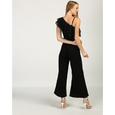 Black Daisy One Shoulder Ruffle Jumpsuit Wide Leg & Flare Black Ruffle Georgette Jumpsuit IN1735MTOJUMBLA-713 XFIMZYP
