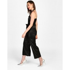 Black Gilroy Knotted Suspender Jumpsuit Wide Leg & Flare Black Knots Satin Jumpsuit IN1739MTOJUMBLA-134 YZTSORY