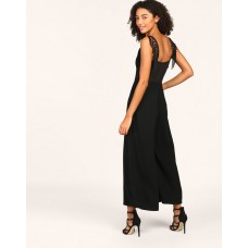 Black Lorna Fringe Detail Sheer Jumpsuit Wide Leg & Flare Black Georgette Jumpsuit IN1805MTOJUMBLA-973 DGBQMCT