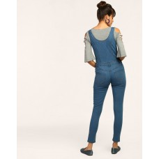 Blue Follett Jumpsuit Regular Blue Off Shoulder Denim Jumpsuit IN1646MTOJUMBLU-169 MHBDKUY